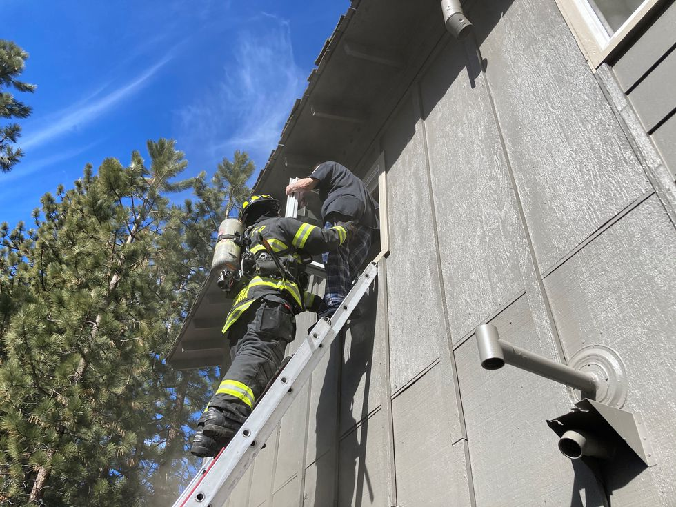 South Lake Tahoe Fire Rescue respond to a fire at an apartment complex at 4123 Pine Blvd....