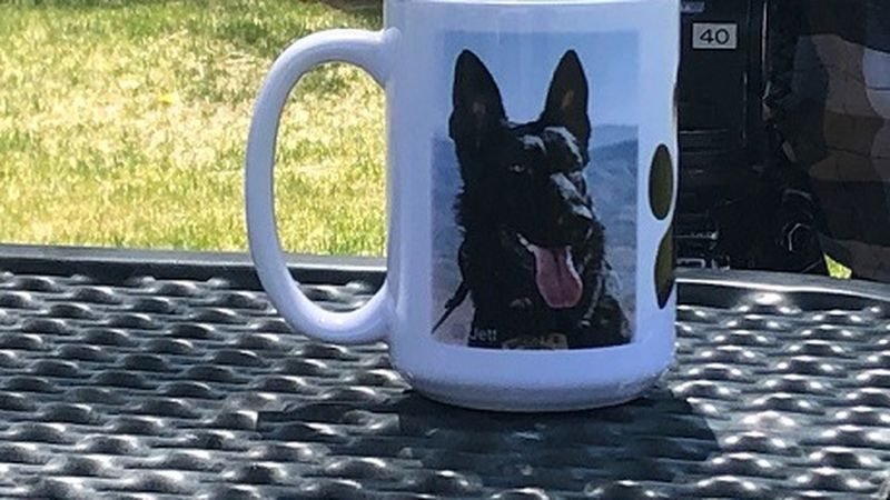 Mugs featuring dogs like K9 Jett, hope to raise money for the unit with Washoe County Sheriff's...