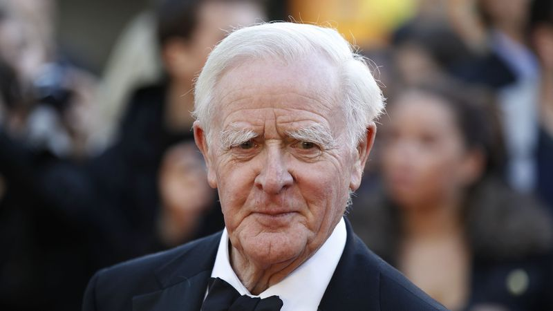 This Sept. 13, 2011, file photo shows British author John Le Carre at the UK film premiere of...