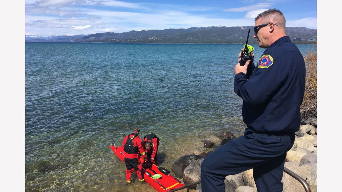A photograph of the rescue of a kayaker at South Lake Tahoe. City of South Lake Tahoe photograph.