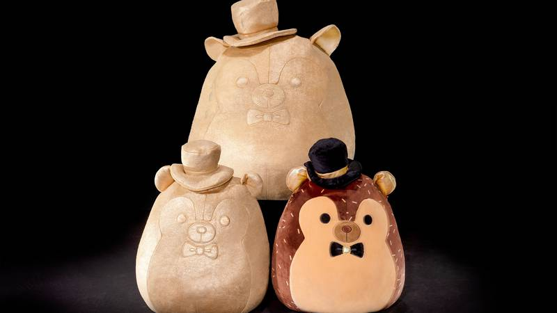 """""""Hans with Golden Details"""": the classic brown Squishmallows hedgehog with gold trim on his..."""