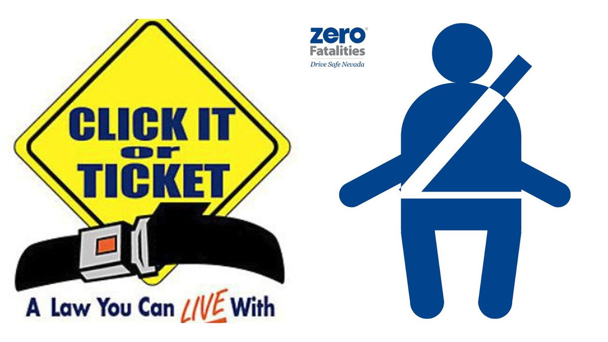 Click It or Ticket and Zero Fatalities logos.