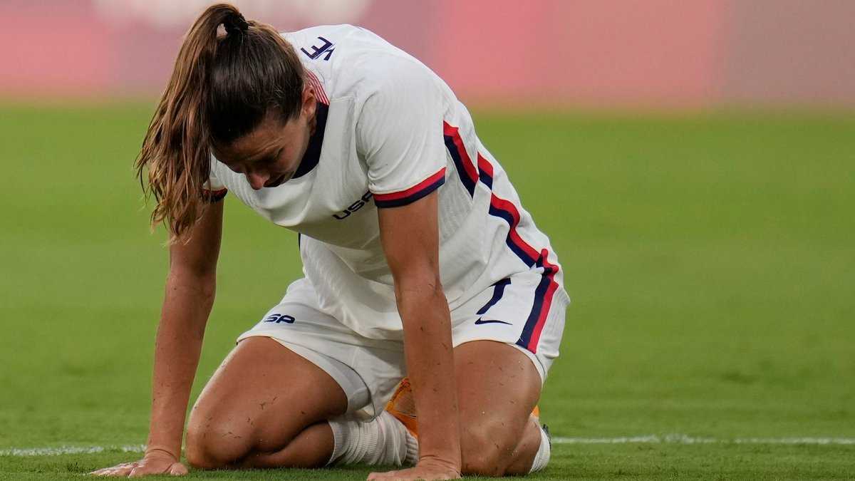 United States' Tobin Heath reacts after losing 0-3 against Sweden during a women's soccer match...