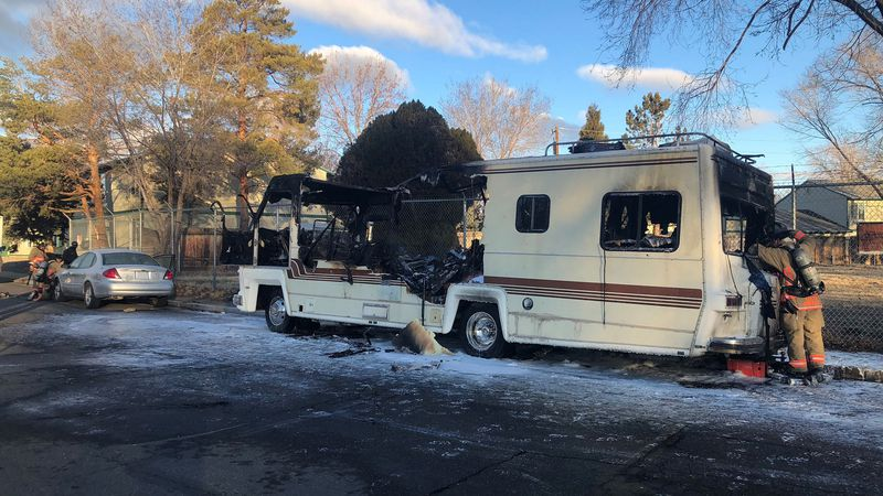 A motorhome was destroyed by a fire on Neil Road in Reno, Nev. on Wednesday, February 17, 2021.