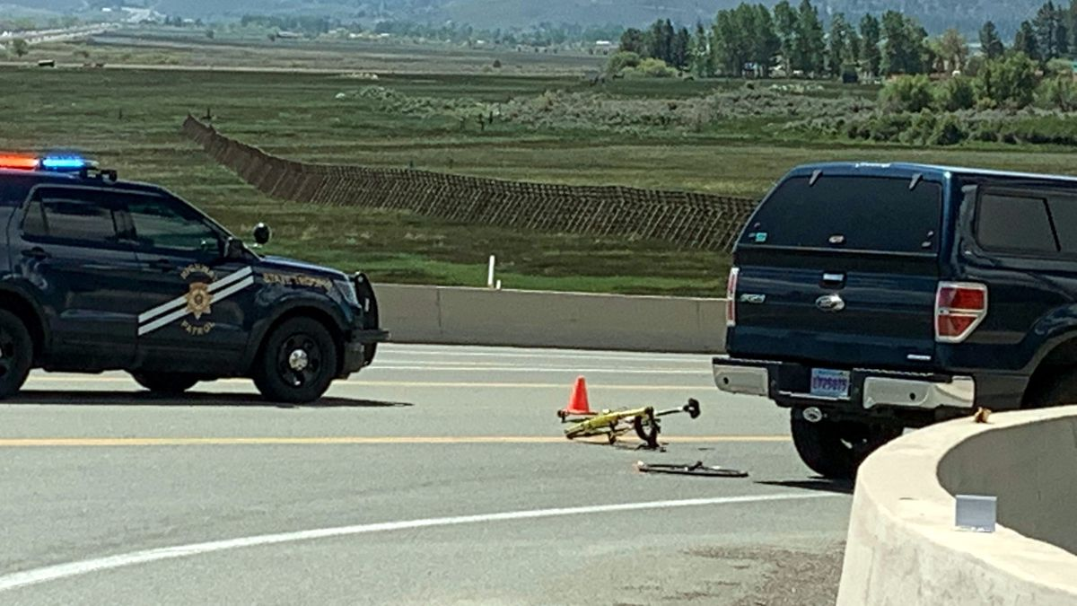The scene of a bicycle accident on U.S. 395 in north Washoe Valley. Photo by Abel Garcia/KOLO.