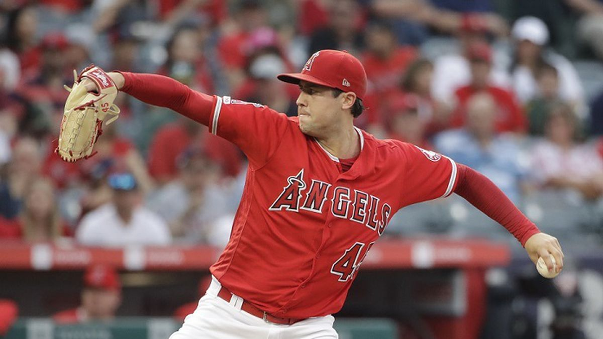 Los Angeles Angels starting pitcher Tyler Skaggs throws to the Oakland Athletics during the first inning of a baseball game Saturday, June 29, 2019, in Anaheim, Calif. (AP Photo/Marcio Jose Sanchez)
