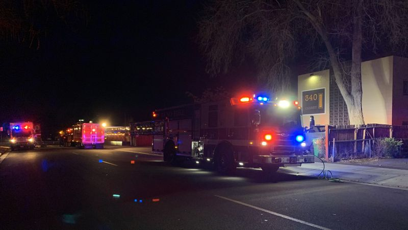 Reno Fire Department investigates a possible hazmat situation at an apartment complex on Cheney...