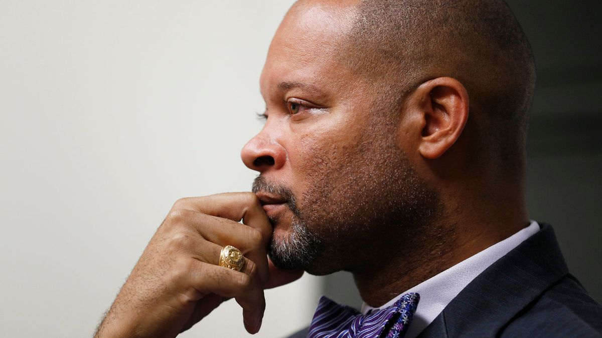 Nevada's incoming Attorney General Aaron Ford speaks with The Associated Press, Friday, Dec. 14, 2018, in Las Vegas.  (AP Photo/John Locher)