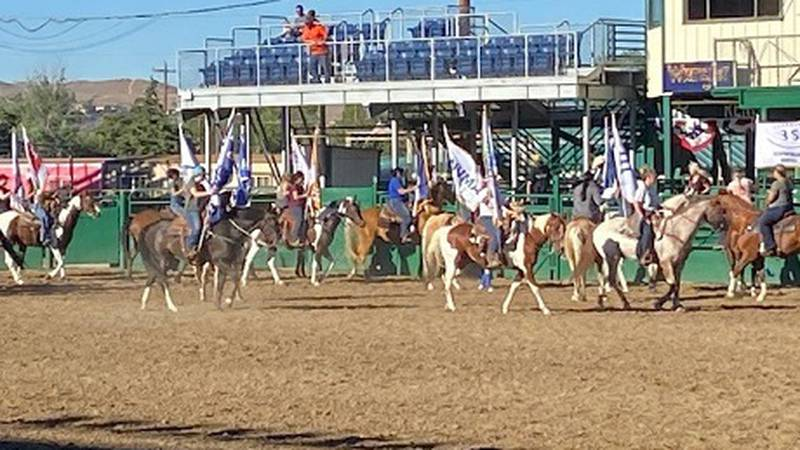 2021 Reno Rodeo Flag Team during practice inside the main arena