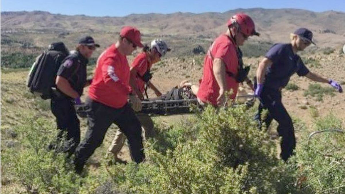 The Washoe County Sheriff's Office released this photo of the rescue of a hiker from the Steamboat Ditch Trail.
