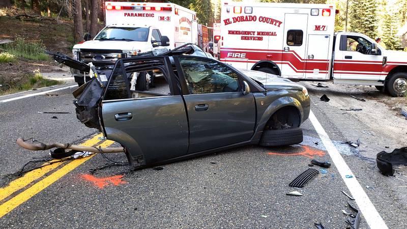 The scene of a crash on U.S. 50 near Twin Bridges, Calif., that killed a Sparks woman.