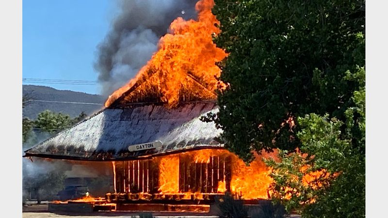 The railroad depot in Dayton burns.