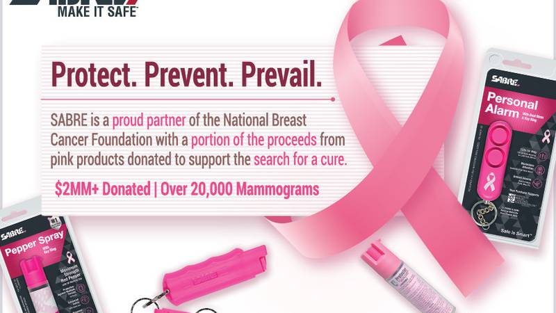 A portion of the sales of pink SABRE pepper spray products purchased year-round is donated to...