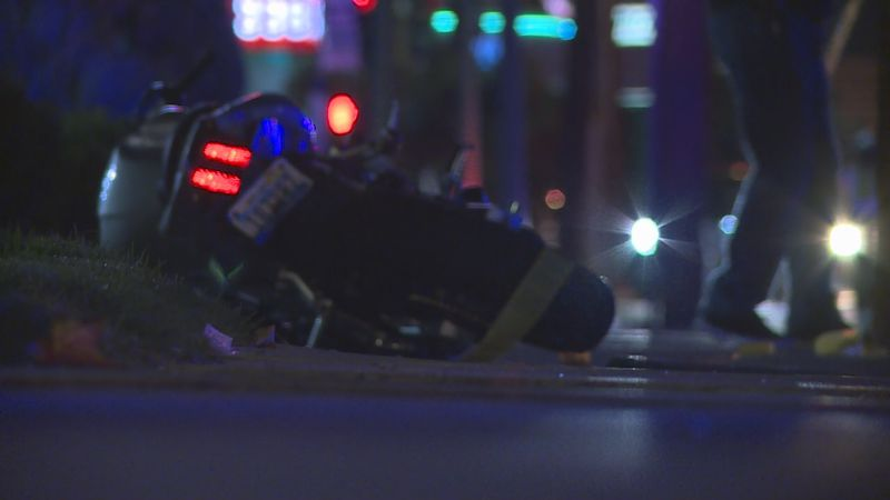 Police respond to a motorcycle crash on S. Virginia. St.