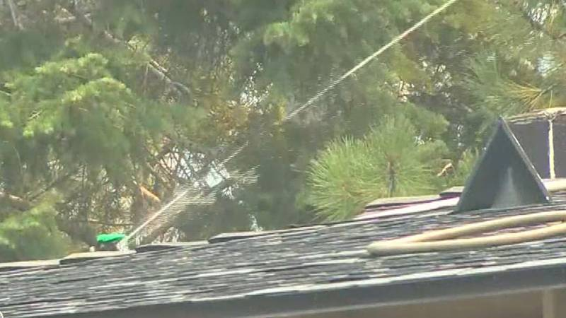 A sprinkler is left on at a home in an area evacuated due to the Caldor Fire.
