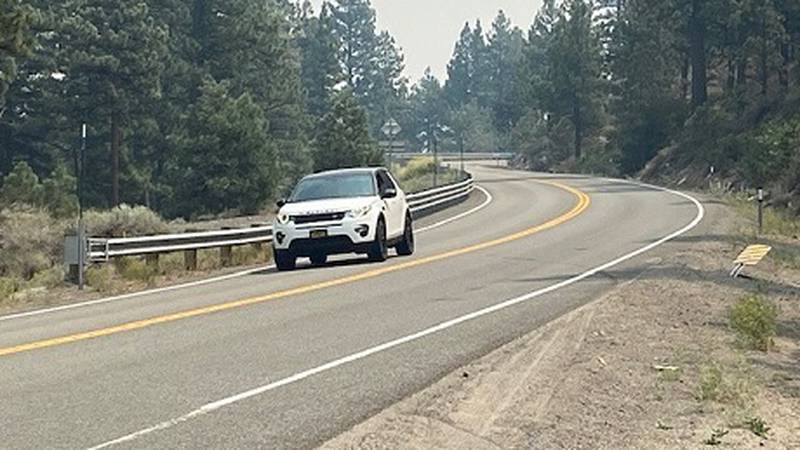 Car traveling eastbound on the Mt. Rose Highway