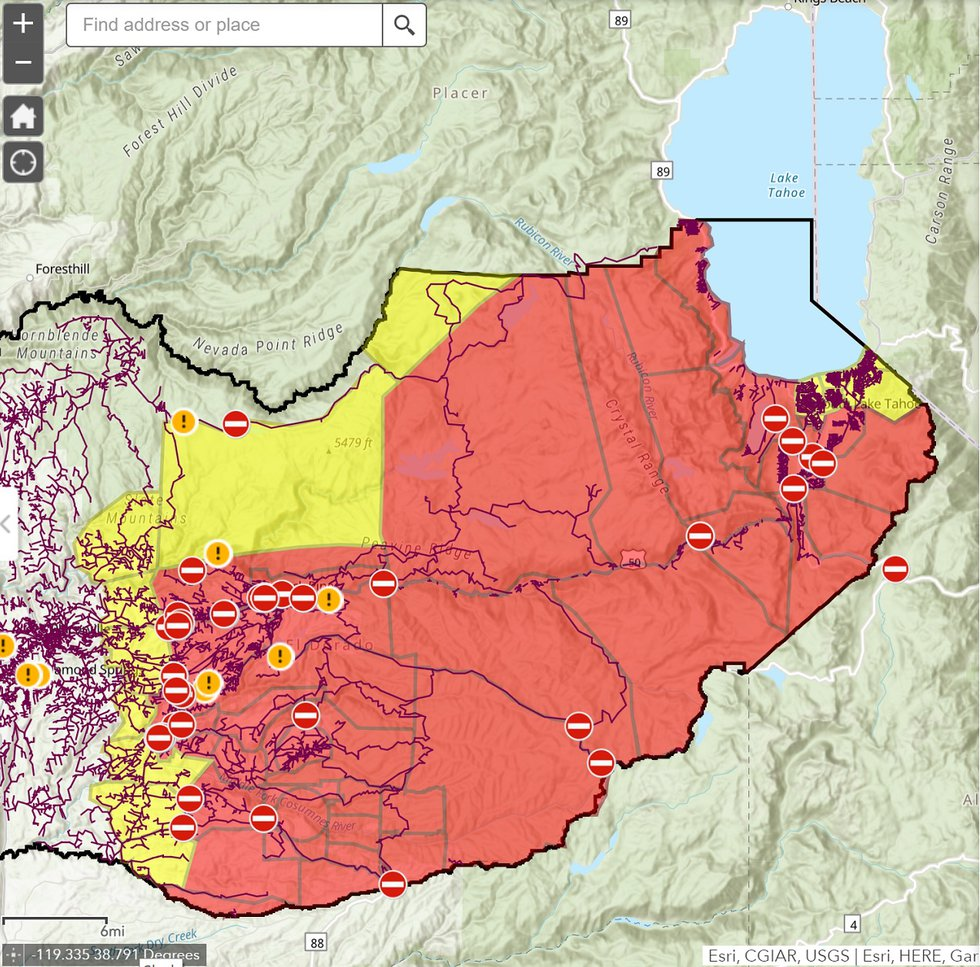 Caldor Fire Evacuation Map