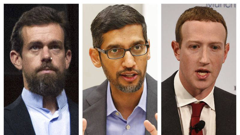 This combination of 2018-2020 photos shows, from left, Twitter CEO Jack Dorsey, Google CEO...