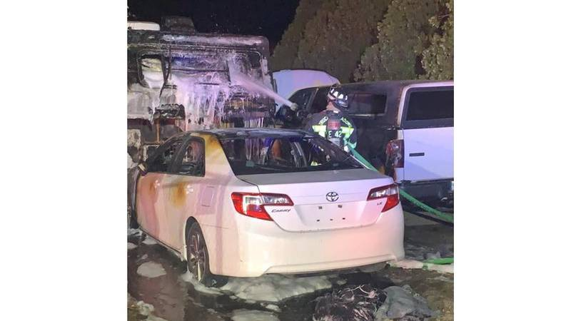Crews respond to a fire in Cold Springs involving three vehicles.