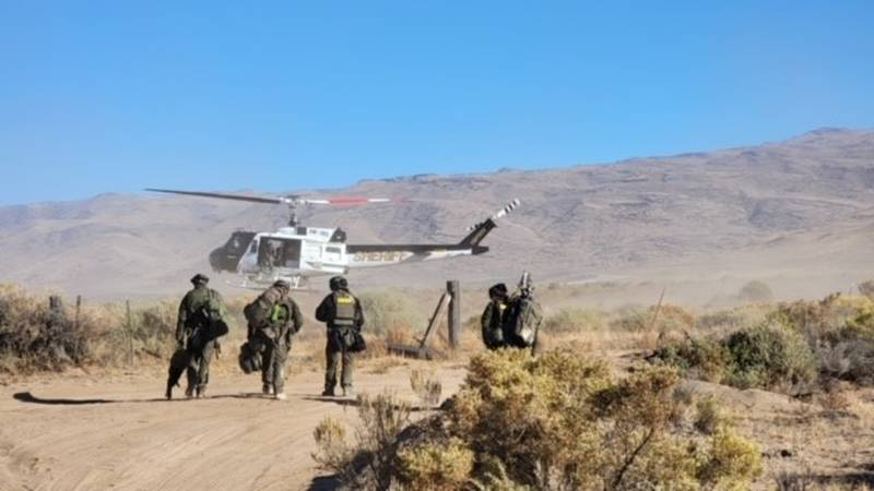 The Washoe County Sheriff's Office special weapons and tactics time and RAVN at Fish Springs...