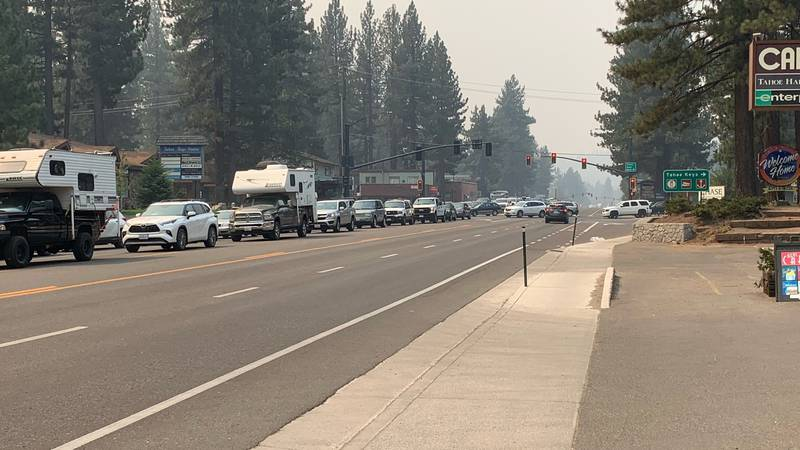 Evacuation traffic is at a standstill trying to leave Lake Tahoe by Highway 50.