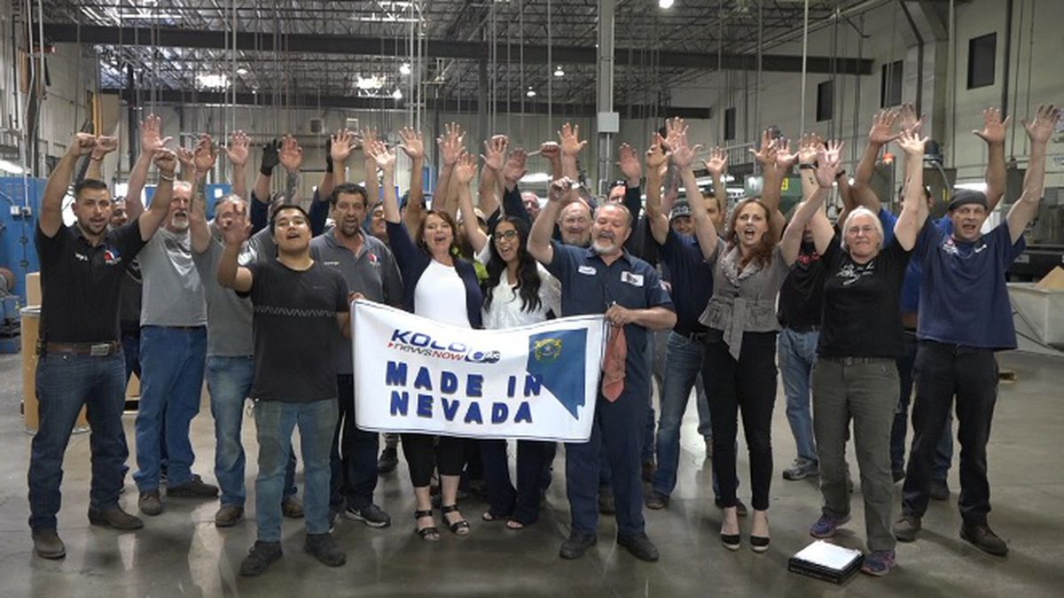 """VIP Rubber and Plastic employees take part in the """"Made in Nevada"""" shout for..."""