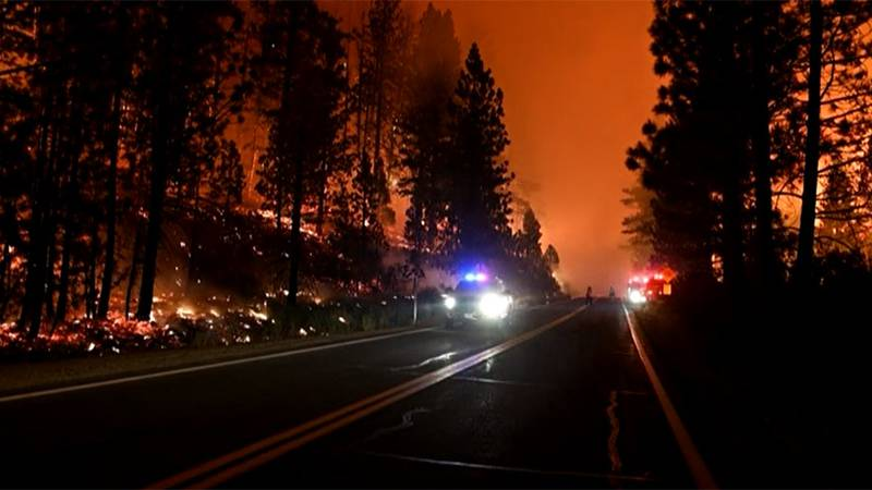 Evacuations have been ordered for the Tamarack Fire burning in Alpine County, Calif., near...