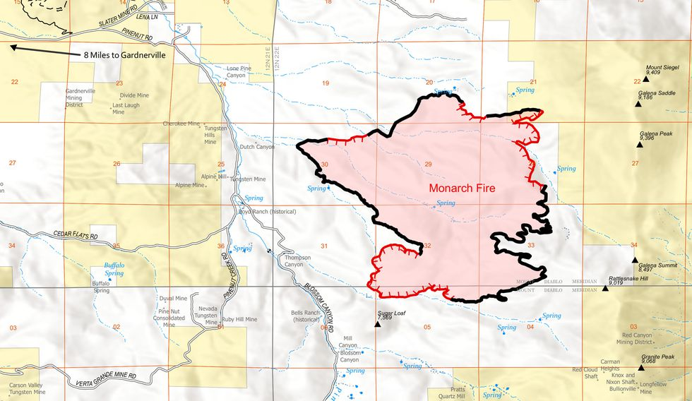 The U.S. Forester Service provided this map of the Monarch Fire perimeter.
