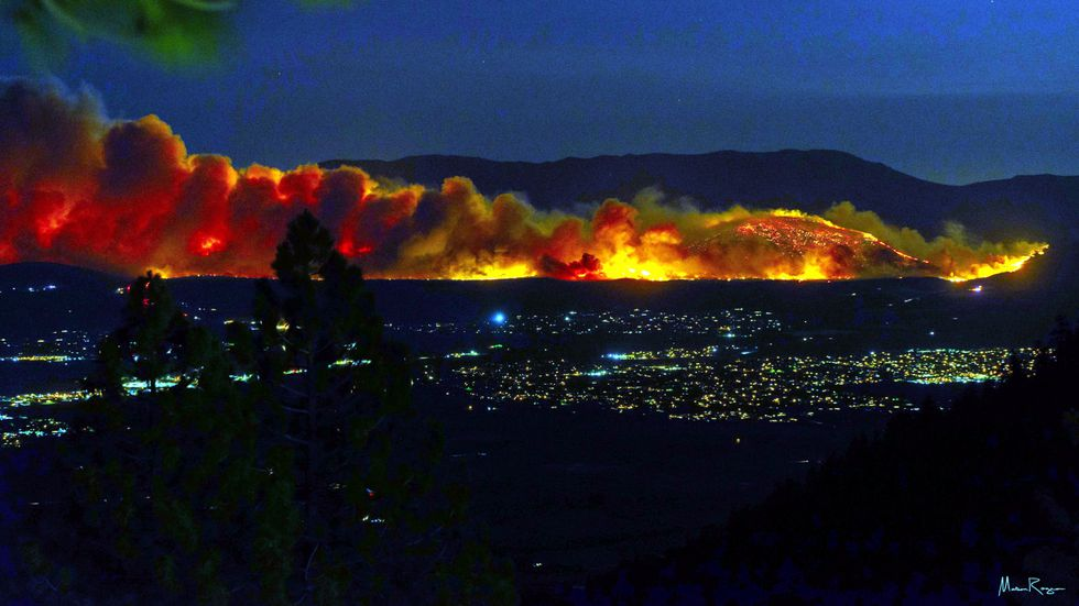 The Numbers Fire in Douglas County as seen from Kingsbury Grade.