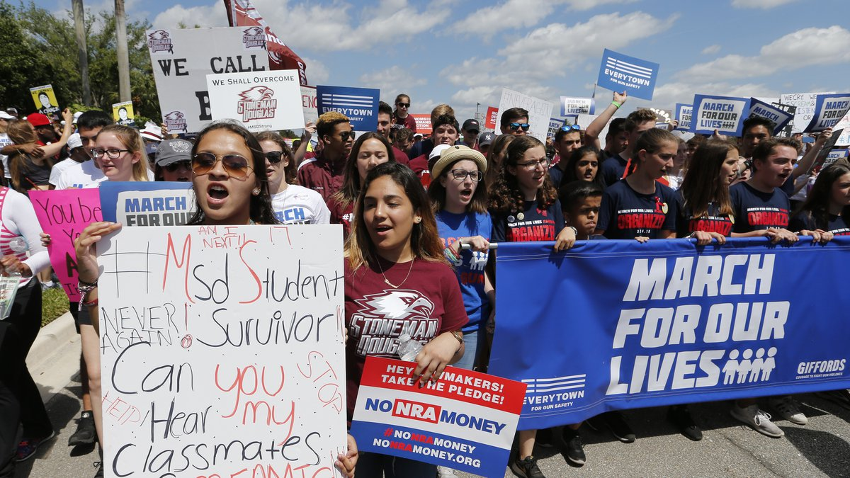 """Marjory Stoneman Douglas High School students led a """"March For Our Lives"""" rally Saturday, March..."""