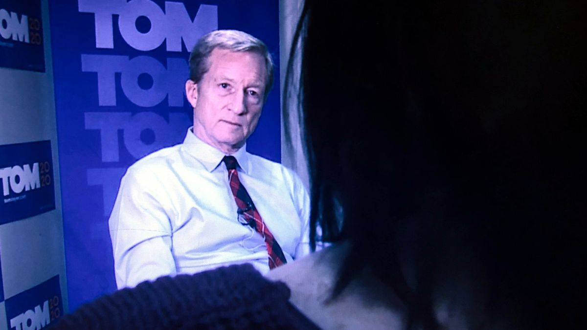 Candidate Tom Steyer at his campaign office in Sparks. Photo by Terri Russell/KOLO.