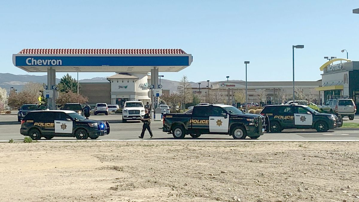 The scene of South Meadows Parkway near Double R Boulevard in Reno.