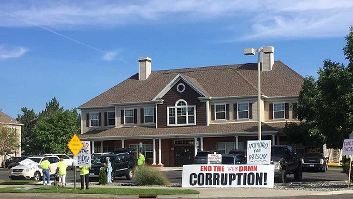 Protesters demonstrate against Storey County Sheriff Gerald Antinoro as the NV Ethics...
