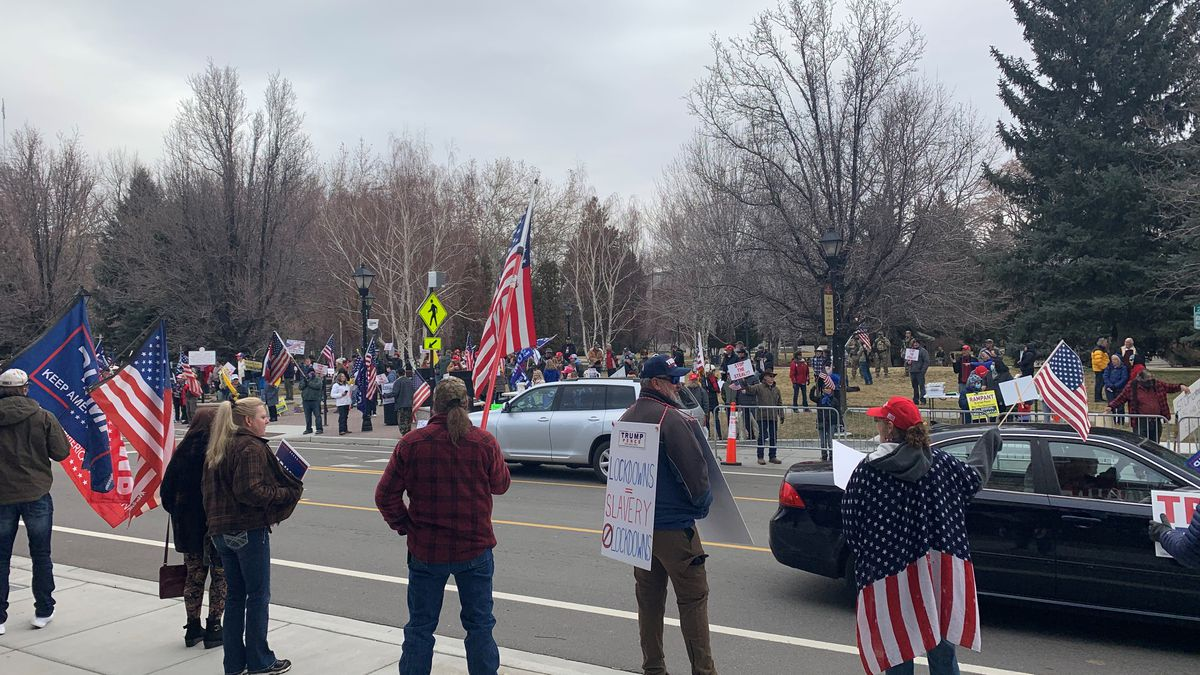 President Trump supporters gather in Carson City for a Stop the Steal rally on January 5, 2021.