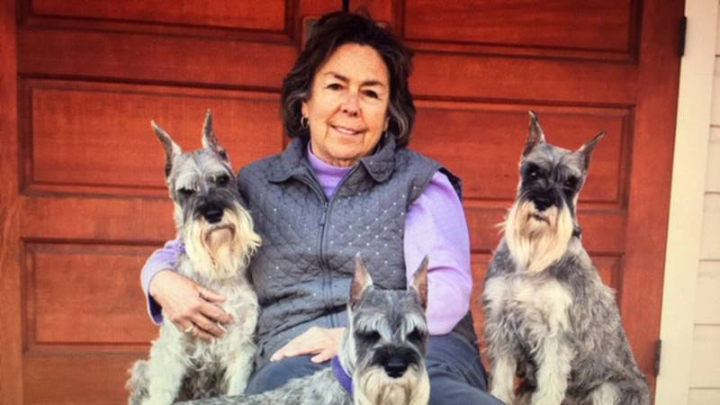 Mary Ann Lambert and her Schnauzers (that's Redford in the front)