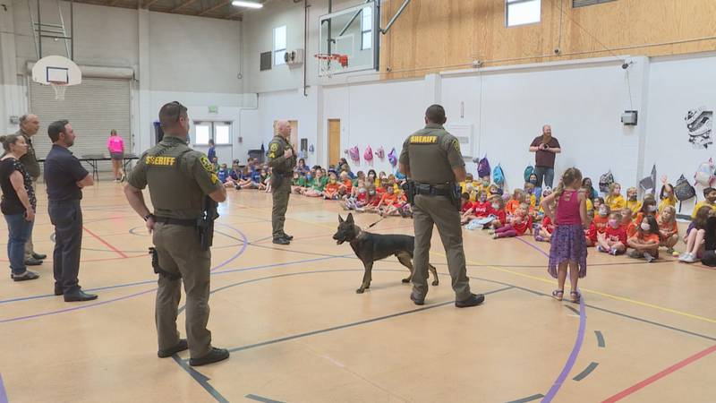 Sheriff Ken Furlong and deputies introduce Camper to local kids on Tuesday, July 13.