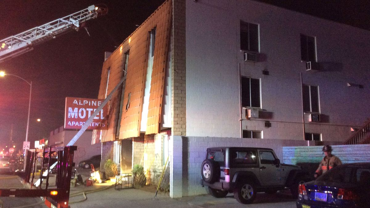 The scene of a fatal fire at the Alpine Motel in Las Vegas. Las Vegas Fire Rescue photograph.