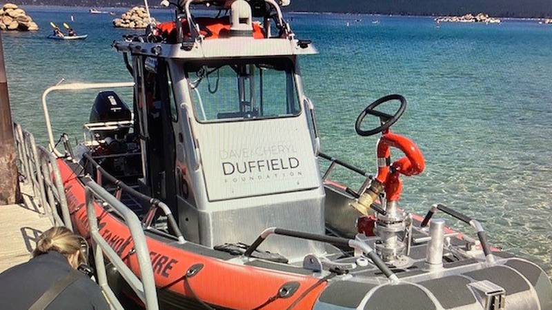 North Lake Tahoe Fire Protection District's  new rescue boat docked at Sand harbor 7/20/20