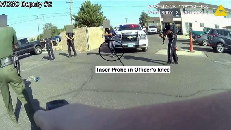 A screenshot from an officer-involved shooting video released by the Reno Police Department.