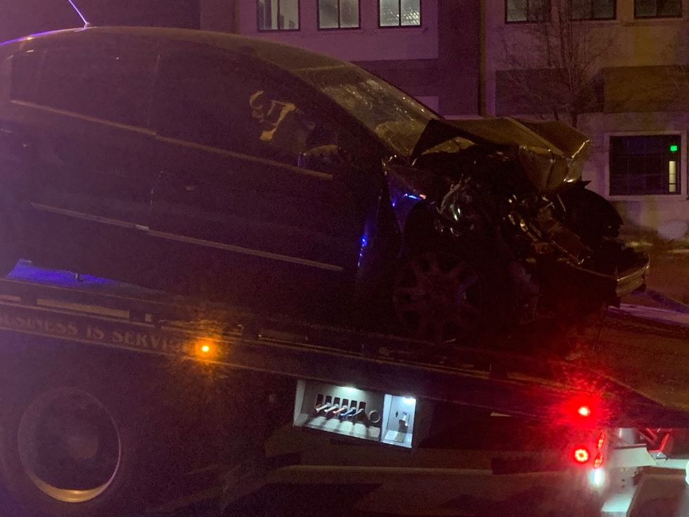 Man arrested for DUI after crashing car into bus