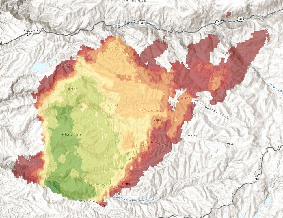 Caldor Fire Map Aug. 22