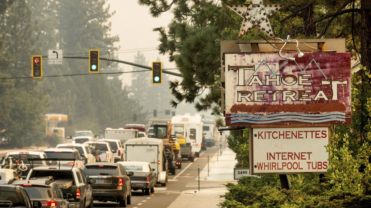 In this Monday, Aug. 30, 2021 file photo, traffic on Highway 50 stands still in South Lake...
