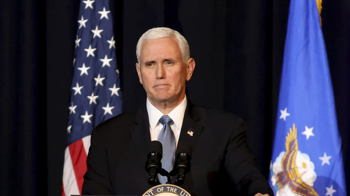 Vice President Mike Pence speaks during a memorial service for the late Air Force Brig. Gen....