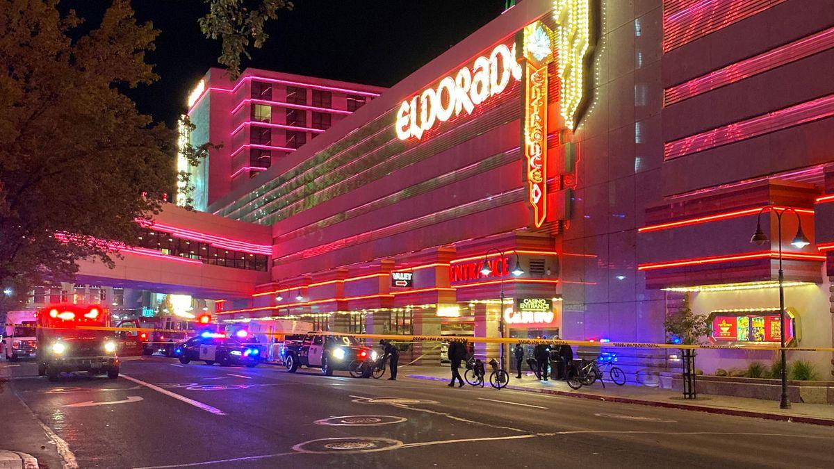 The scene of a shooting near Fourth Street and Sierra Street at the Eldorado Reno. Photo by Regine Alojado/KOLO.