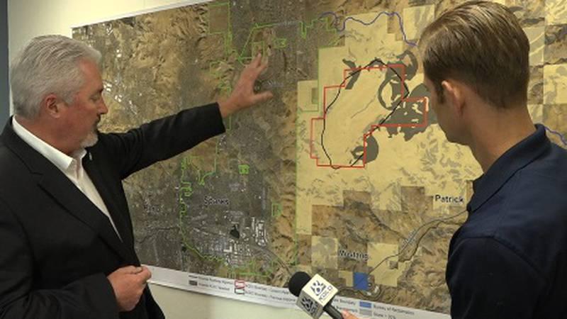 Sparks Mayor Ed Lawson shows KOLO 8 Evening Anchor Noah Bond where he would like to expand the...