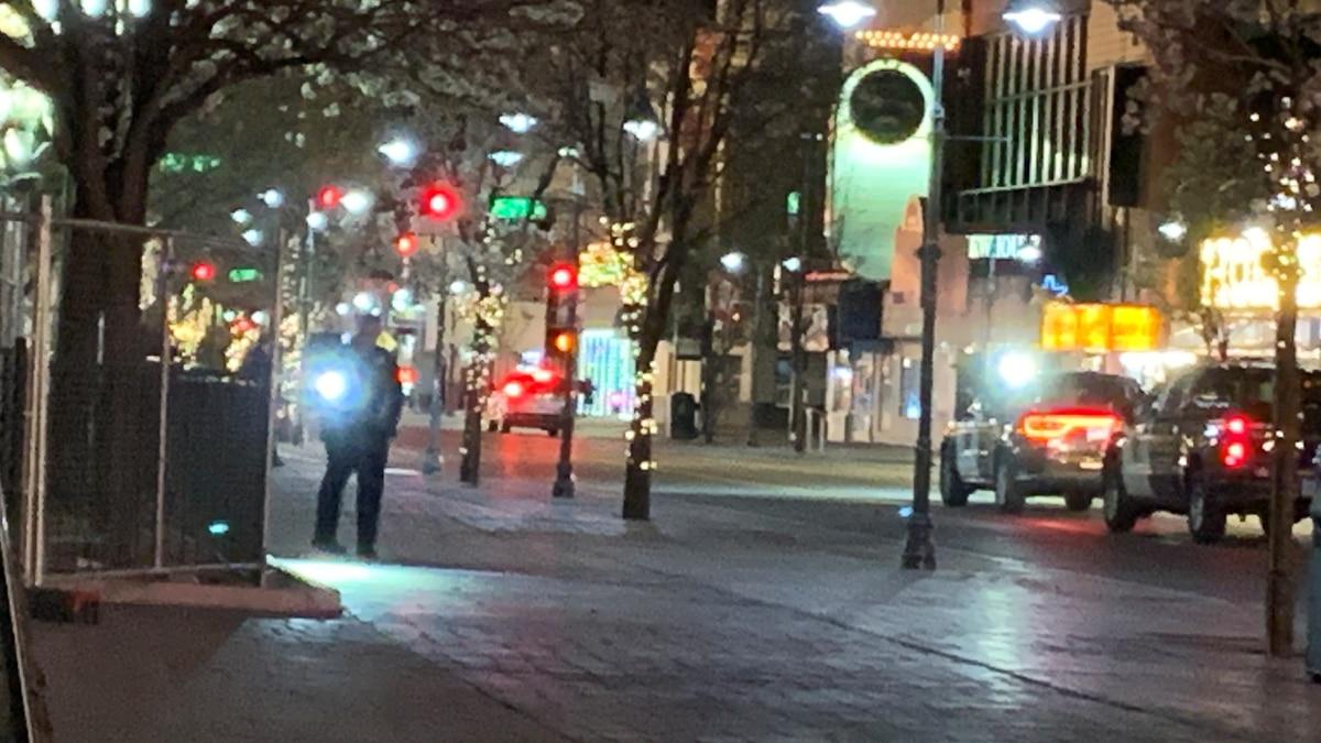 Reno Police investigate a stabbing on S. Virginia Street on April 5, 2021.