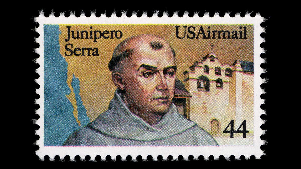 This 1985 stamp honors Junipero Serra.