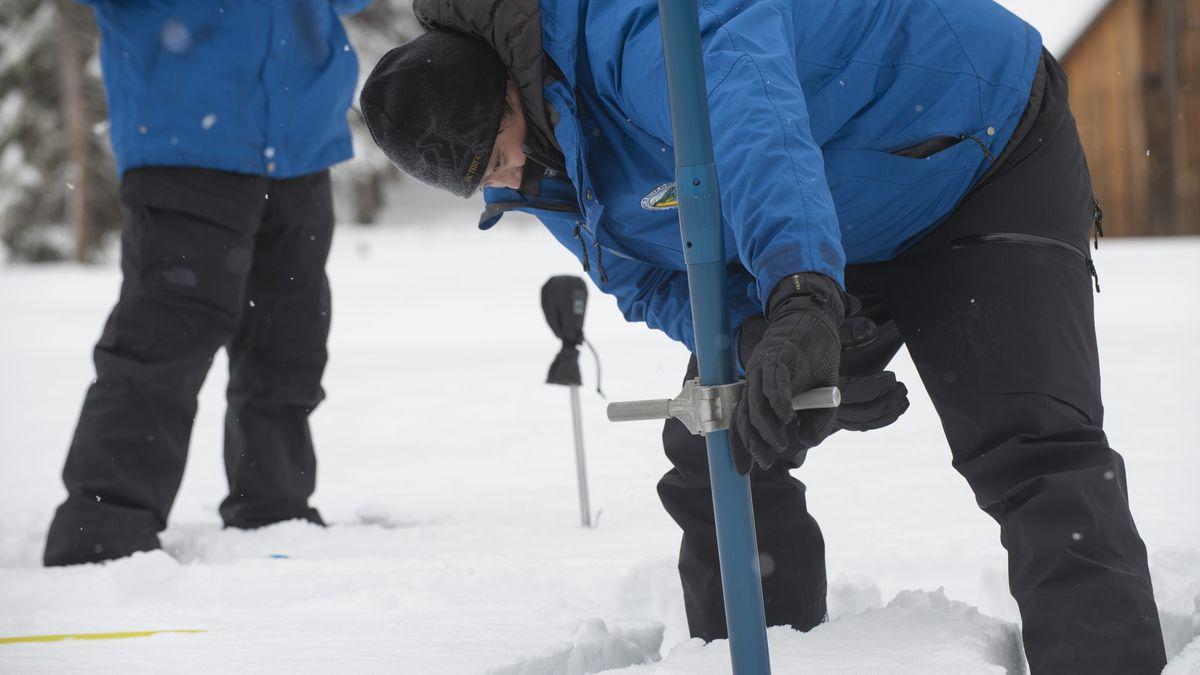 Sean de Guzman, chief of snow surveys for the California Department of Water Resources,...