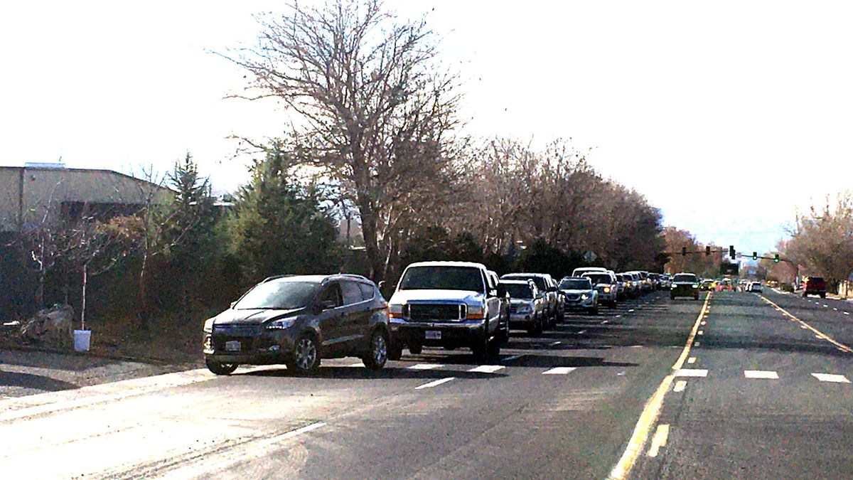 Waste Management provided this photo of the line to use its facilities for the free hazardous waste drop off.
