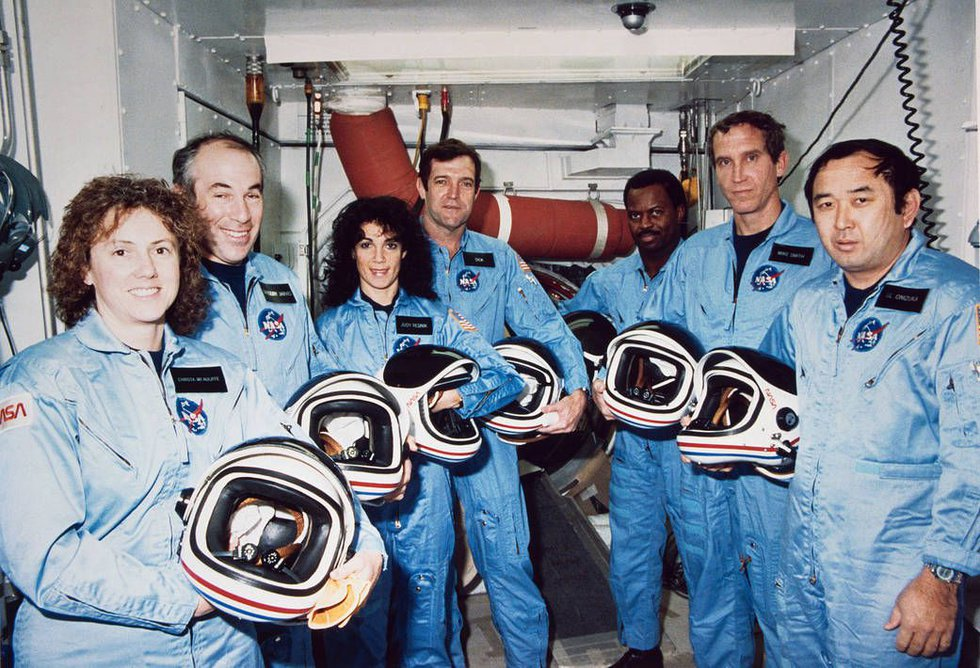 The crew of the Space Shuttle Challenger, which exploded over Kennedy Space Center on January...